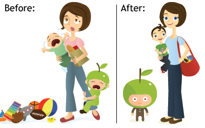 Before and After Illustration of Life With and Without a Live-in Nanny