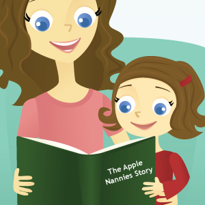 Illustration of Mother and Daughter Reading the Apple Nannies Story