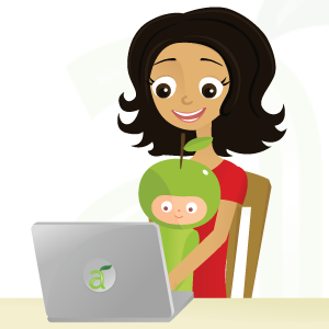 Illustration of Mother and Son Viewing Live-in Nanny Profiles Online